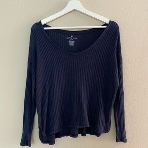 American Eagle Navy Ribbed Soft and Sexy Shirt